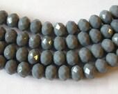 Gray Crystal Beads 6x8mm, Gray Beads  (68)