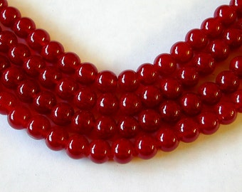 Red Glass Beads 8mm (50)