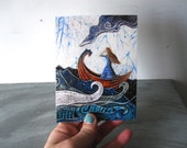 She never turned her back on the sea,  illustrated blank card, ocean adventure waves, glossy finish