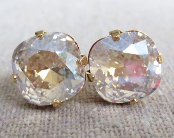 Swarovski Champagne Prism Diamond Cushion Cut Square Crystal Gold Statement Post Earrings Bridal Wedding Jewelry Bridesmaids Gifts