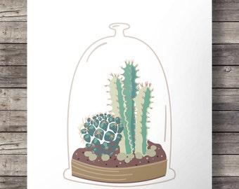 Printable art | Cactus terrarium glass dome | succulent cacti illustration | Printable wall art decor | Instant download digital print