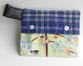 Recycled Matierial Pouch, racoon, birds, birdhouse, Bike Inner Tubes, Upcycled shirt, Small Clutch, #73