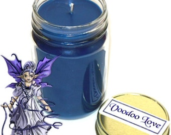 Voodoo Love Mason Jar Candle Floral and Coconut Scent 12 Oz Handmade
