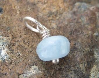 Blue Aquamarine Charm - Aquamarine Necklace - March Birthstone