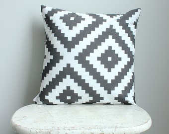 Black aztec Pillow cover 18 inch 18x18 modern hipster accessory home decor nursery baby gift present zipper closure canvas ready to ship