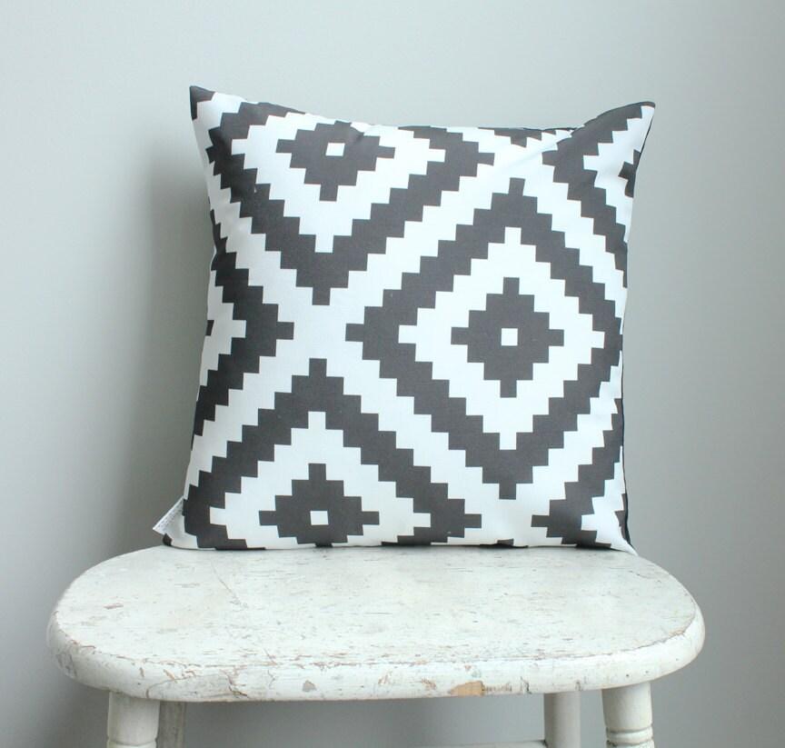 Modern Aztec Pillows : Black aztec Pillow cover 18 inch 18x18 modern hipster