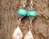 Diamond Shaped Pearls, Turquoise, Sterling Silver Earrings, Wire Wrapped Earrings, Turquoise Earrings, Pearl Dangle Earrings,  Gemstone