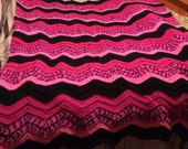 Pink and Black Ripple Design Afghan/Throw/Blanket