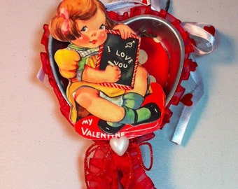 4 inch heart tin Valentine ornament decoration gift