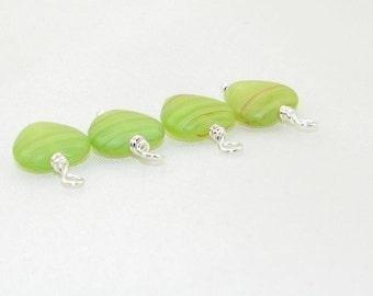 4 Handmade green glass with tan line hearts beaded dangle drop charms, hand wrapped beads, earrings