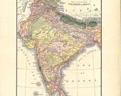 old map of India, 600 dpi digital map to print large