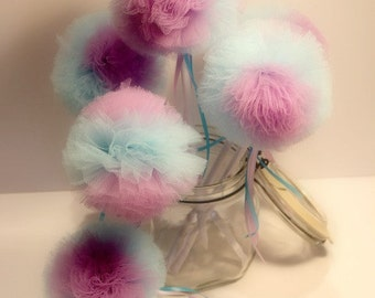 Tulle Party Wands - Frozen Inspired Birthday Party Decorations Favor Pack of 6
