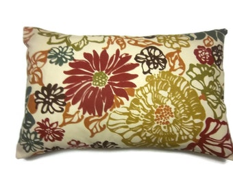 Decorative Pillow Cover Modern Floral  Lumbar Red Olive Green Gold Brown Teal/Gray Burnt Orange Same Fabric Front/Back 12x18 inch x