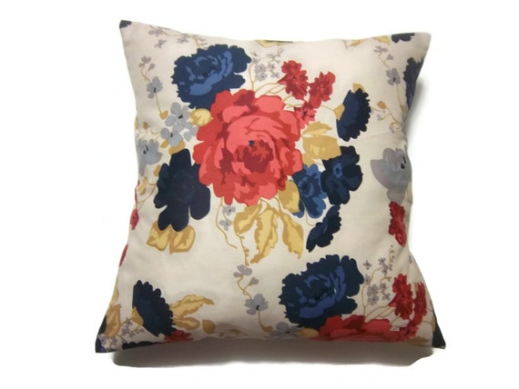 Decorative Pillow Cover Bold Floral Design Navy Blue Yellow
