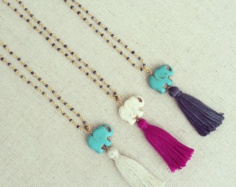 The Lucky Elephant  Long Tassel necklace from Girls Day Out
