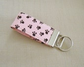 Mini Key Fob  - Black Paw prints on Pink