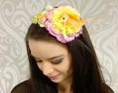 Strawberry and Lemon Sherbert Pastel Spring Colors Headband, Flower Headband, Mori-Kei Fashion, Lolita Headband