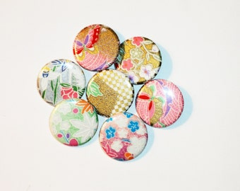 7 Origami Pin Back Buttons -1.25in