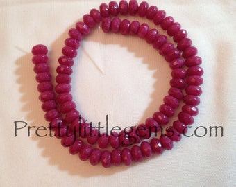 Ruby Red Jade Faceted Rondelles
