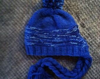 Hand knit ear flap hat!
