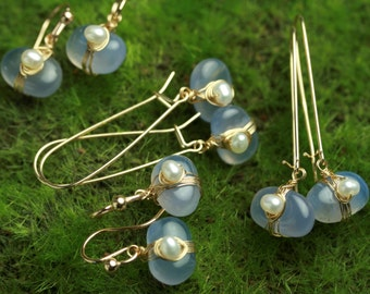 Blue Chalcedony Pebble Earrings with Freshwater Pearl Gold Fill or Sterling Silver Wire