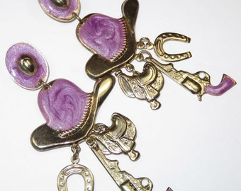 SJK VINTAGE -- Gold Tone and Purple Enamel Dangly Cowboy Charm Pierced Earrings (1980's)