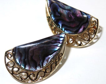 SJK VINTAGE -- Butler Signed Filigree Gold and Purple Abalone Clip-on Earrings (1980's)