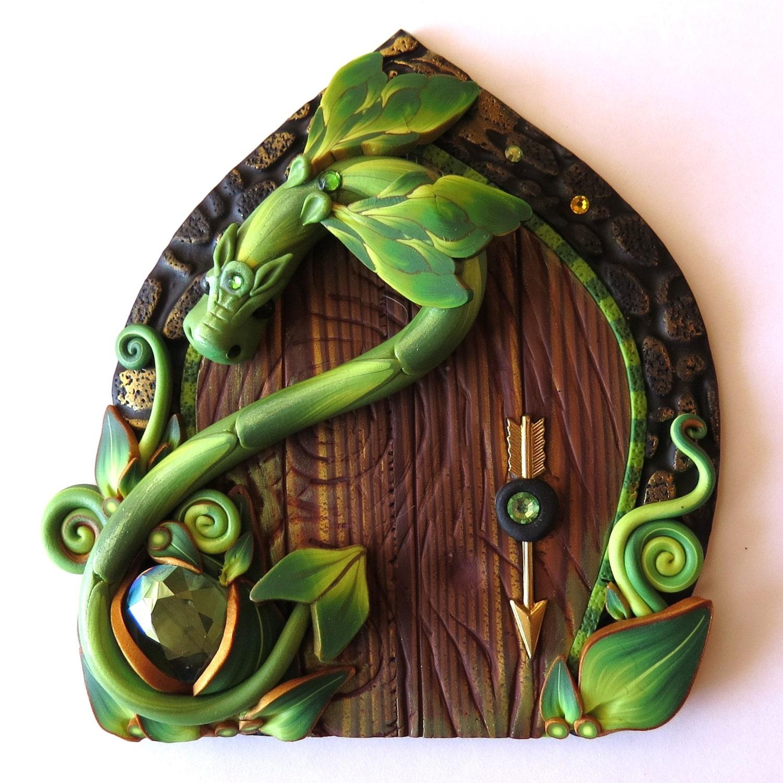 Green dragon fairy door pixie portal miniature fairy garden for Fairy pixie doors