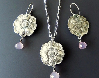 Pink Poppies Fine and Sterling Silver and Pink Faceted Chalcedony Onion Briolettes Necklace and Earrings Set