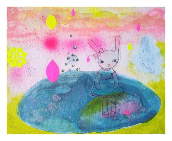 Original Painting Abstract  Landscape Bunny Pastel Flourescent Mixed media