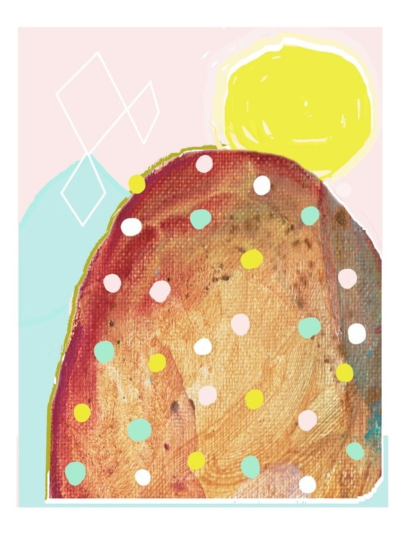Abstract Landscape Contemporary Art Print Big Spotty Rock