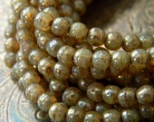 Champagne Tweed Marbles (50) -Czech Glass Druks 4mm