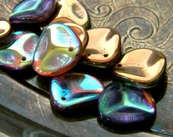 Copper Spectrum (10) -Czech Glass Rose Petals 14x13mm