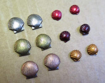 Vintage Plated & Enamel Stud Earrings - Sea Shell Collection - You Choose (4 pairs) (J551)
