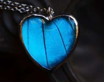 Real Butterfly Wing Necklace Blue Morpho Heart