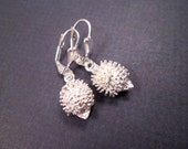 Silver Hedgehog Earrings, Baby Hedgehogs, Silver Dangle Earrings, FREE Shipping U.S.
