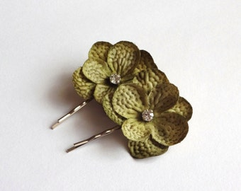 Moss Green Hydrangea Flowers Hair Pins, Shoe Clips, Baby Snap clips