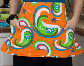 Orange Paisley Pocket Waist Apron
