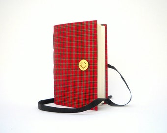 Red Black journal notebook diary, Handmade journal with lined paper for writing Squares tartan scottish fabric cover Button & Ribbon closure