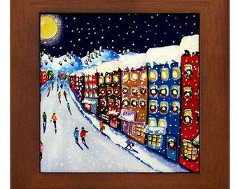 Christmas Shopping Holiday Winter Colorful Whimsical Folk Art Framed Ceramic Tile