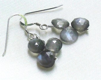 Dove Gray Moonstone Earrings, Sterling Silver, Stacked Heart Briolettes, Genuine Moonstone Jewelry... June Birthstone