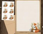 Personalized Stationery - Mini Letter Writing Set - Bookish Forest Fox - Stationery Set woodland animal