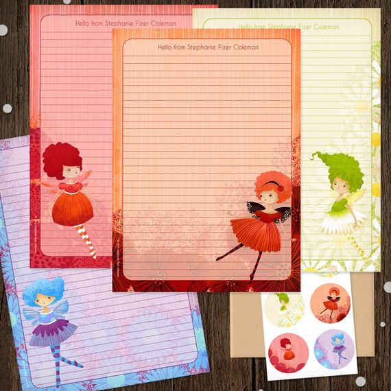 Personalized Stationery Set - Garden Fairies Mini Letter Writing Set - Cute Stationery Set - Kids Stationery gift faery whimsical cute