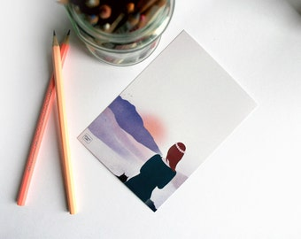 Contemplation - illustrated postcard