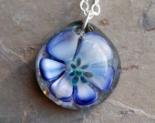 Memorial Ash Pet Cremation Pendant Glass Flower Water Lily Necklace Borosilicate Boro Lampwork, Hand Blown Glass Jewelry - Water Lily