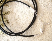"""24"""" Finished Premium Leather 2MM Necklace, Premium Silver Plated Clasp, Finished Ball Chain Clasp, Adjustable Leather Necklace """""""