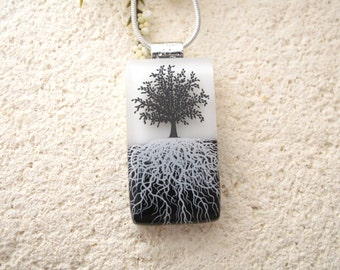Tree Necklace, Fused Glass Jewelry, Rooted Tree, Tree of Life Jewelry, Fused Glass Pendant,Tree Necklace, Black & White Necklace 110215p102