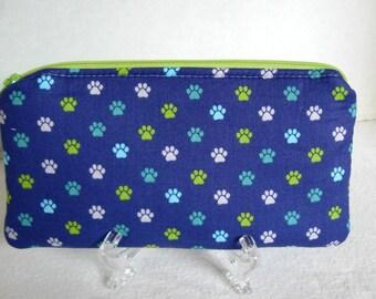 Paw Prints Zipper Pouch - Kitty Cat Prints - Dog Prints Padded Zip Case