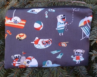 Pugs zippered bag, make up bag, accessory bag, Pugs Day Off, The Scooter