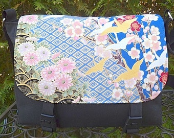 Japanese mini messenger bag, cross body bag, small messenger, Flying Cranes on Blue, The Zeldina